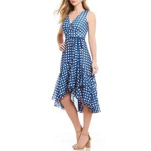 NWT Eliza J Gingham Ruffle Hem Faux Wrap Dress 4